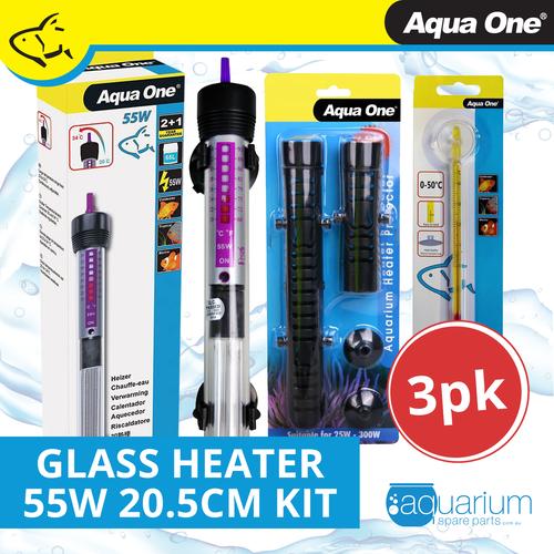 Aqua One Glass Heater 55w 20.5cm Kit (3pk)