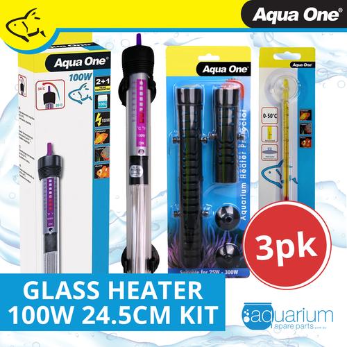 Aqua One Glass Heater 100w - 24.5cm Kit (3pk)