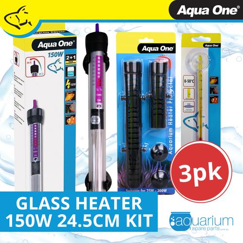 Aqua One Glass Heater 150w - 24.5cm Kit (3pk)