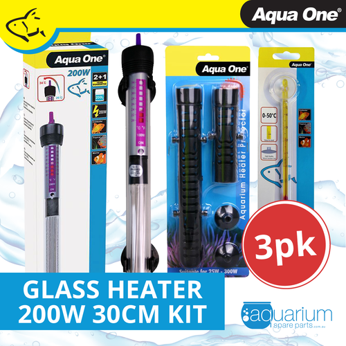 Aqua One Glass Heater 200w - 30cm Kit (3pk)