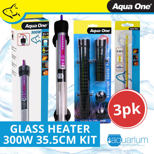 Aqua One Glass Heater 300w - 35.5cm Kit (3pk)