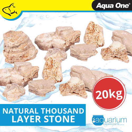 Aqua One Natural Thousand Layer Stone Mixed Sizes 20kg Box (12296)
