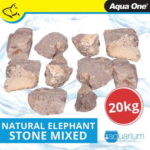 Aqua One Natural Elephant Stone Mixed Sizes 20kg Box (12298)