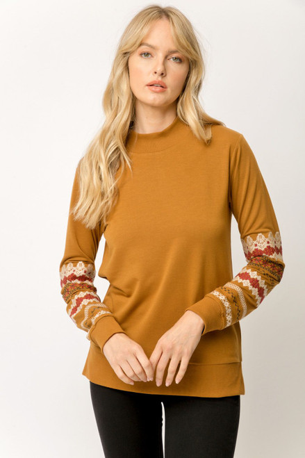 EMBROIDERED SLV PULLOVER