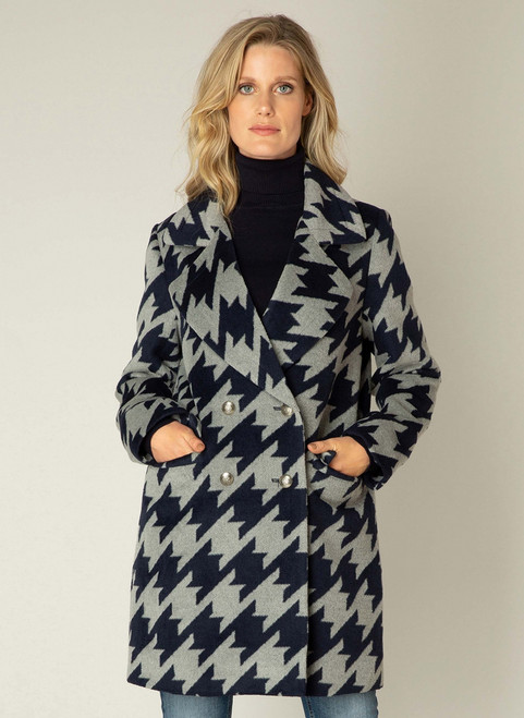 Yest navy and grey coat front view