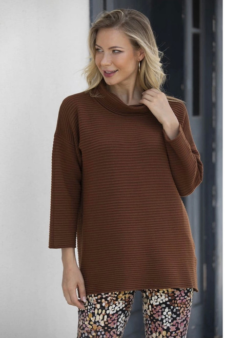 RIBBED COWL NECK SWEATER - 4 Colors