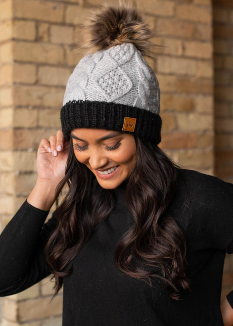SOLID CONTRAST CUFF HAT - 2 Colors