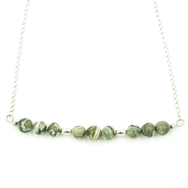Handmade Sterling Silver Rainforest Rhyolite Jasper Necklace ~ Earth Song Jewelry