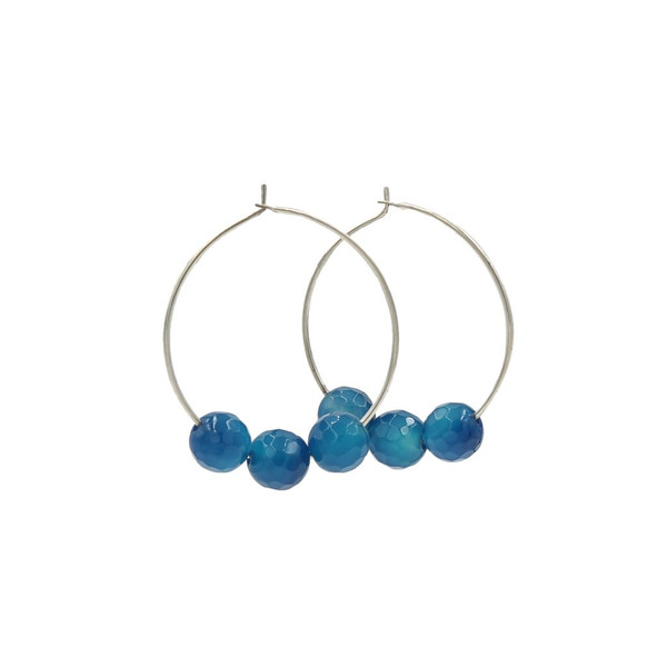 Handmade Blue Agate Silver Hoops ~ Earth Song Jewelry