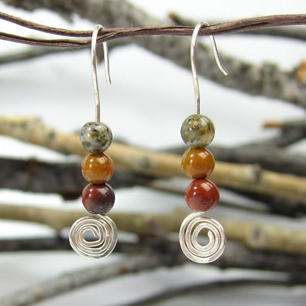 Handmade Jasper On Sterling Silver Spirals ~ Earth Song Jewelry