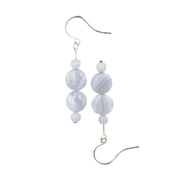 Handmade Blue Lace Agate Sterling Earrings ~ Earth Song Jewelry