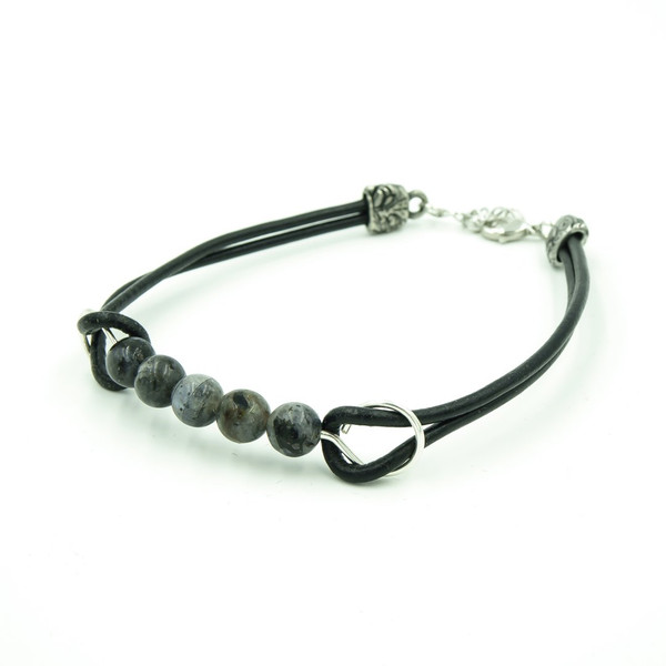 Black Moonstone On Greek Leather