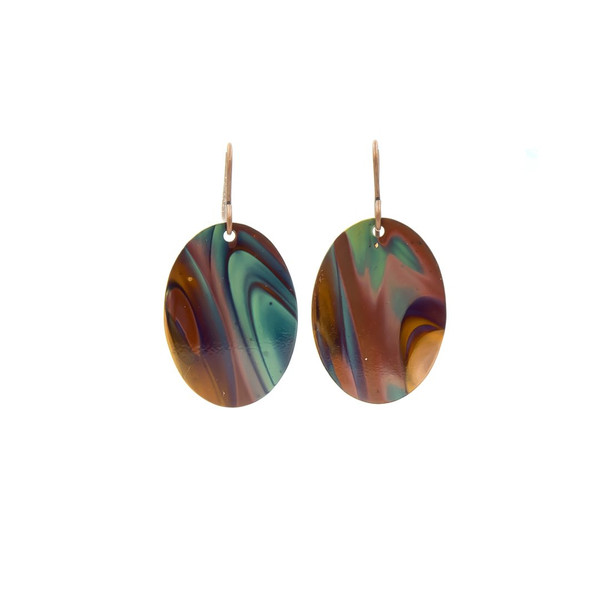 Handmade Oval Flame Painted Copper Earrings ~ Earth Song Jewelry