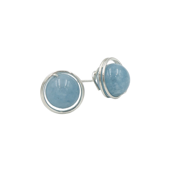 Handmade Sterling Silver Wrapped Aquamarine Post Earrings ~ Earth Song Jewelry