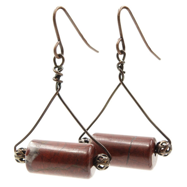 Handmade mahogany obsidian copper trapezes ~ Earth Song Jewelry