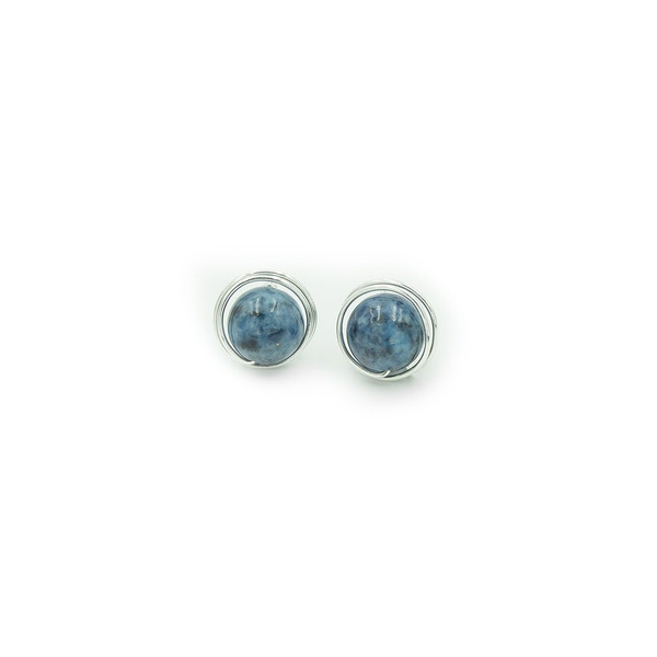 Handmade sterling wrapped denim lapis post earrings ~ Earth Song Jewelry