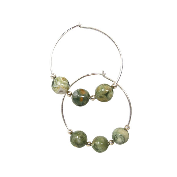 Handmade rainforest rhyolite jasper hoops ~ Earth Song Jewelry