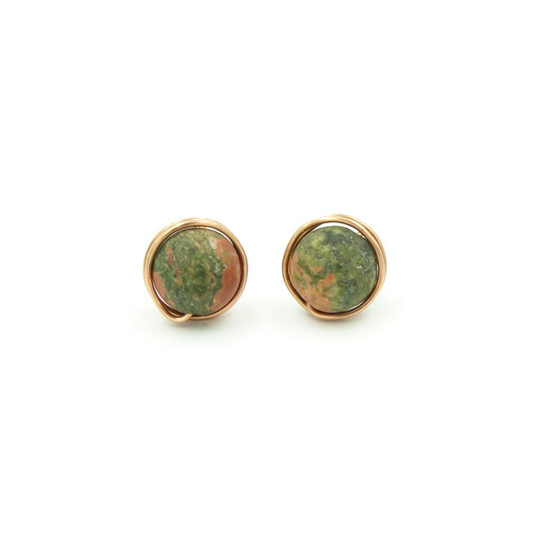 handmade copper unakite posts earrings ~ Earth Song Jewelry