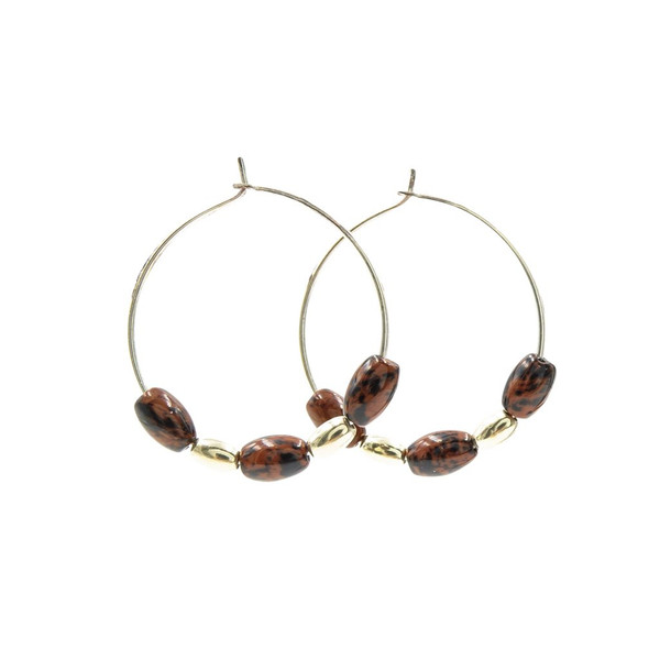 handmade mahogany obsidian silver hoops ~ Earth Song Jewelry