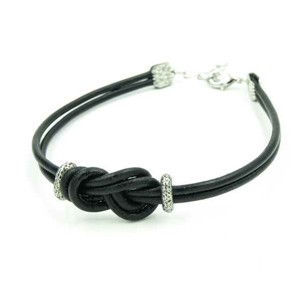 handmade leather infinity knot men's bracelet ~ Earth Song Jewelry