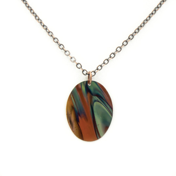 Blue Oval Flame Necklace - Torch Flamed Copper Handmade in Colorado