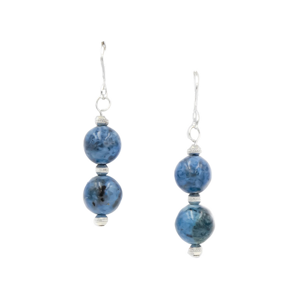 Denim Lapis Silver Earrings