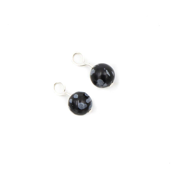 Handmade Interchangeable Sterling Silver Snowflake Obsidian Stone Charms ~ Earth Song Jewelry