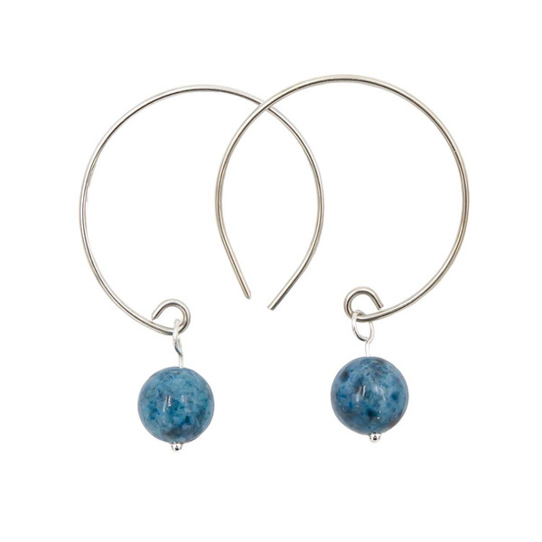 Handmade Denim Lapis Sterling Silver Hoop Earrings ~ Earth Song Jewelry