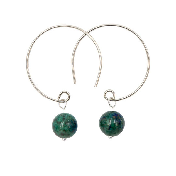 Handmade Azurite Sterling Silver Hoop Earrings ~ Earth Song Jewelry