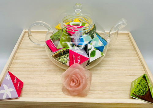 Glass Teapot with Assorted Teas