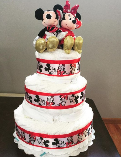 Mickey Or Minnie Diaper Cake