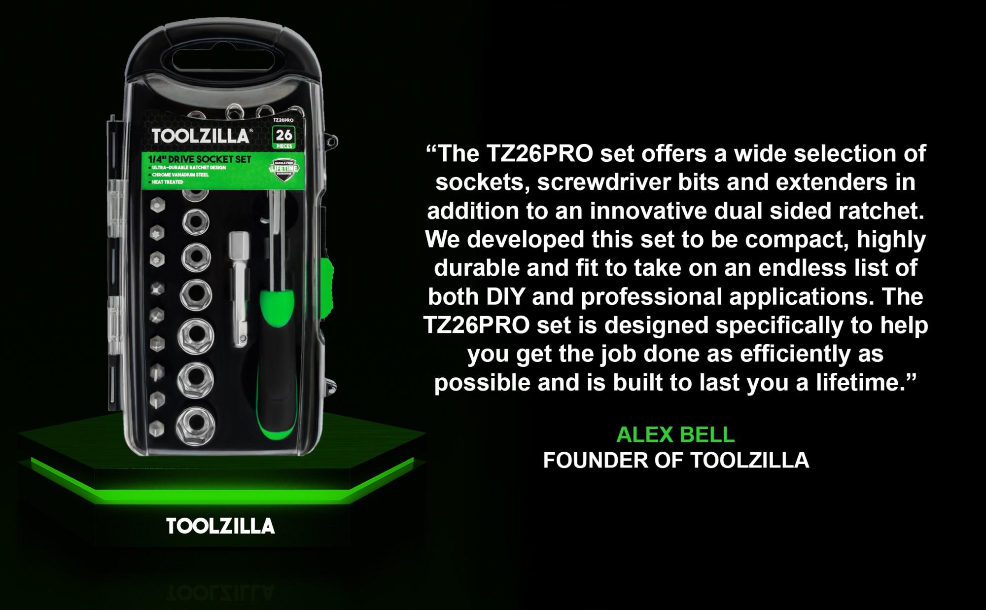 """TOOLZILLA TZ26PRO 26 Piece 1/4"""" Drive Socket Set"""