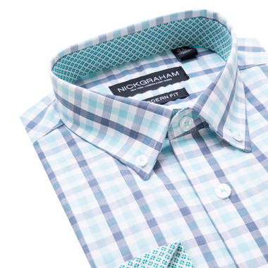 Two Color Railroad Check Dress Shirt