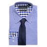 Gingham Check Stretch Dress Shirt with Solid Tie