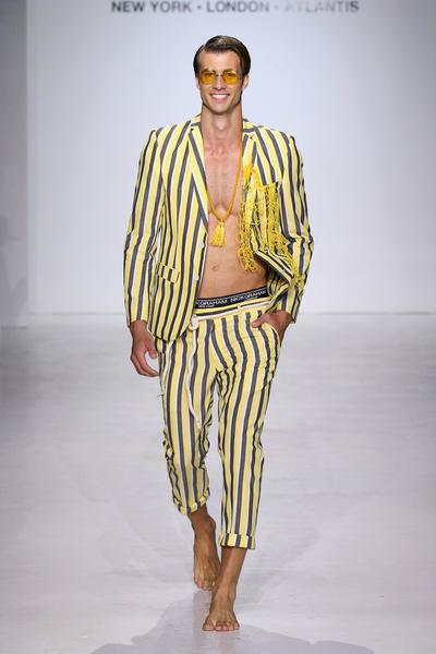 Man in yellow striped suit