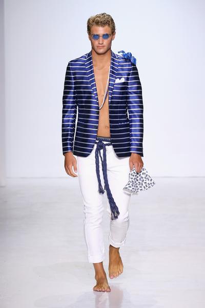 Man in blue striped coat