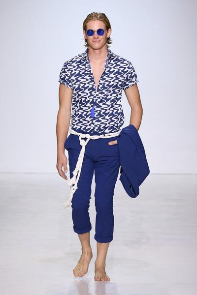 Man in blue short sleeve