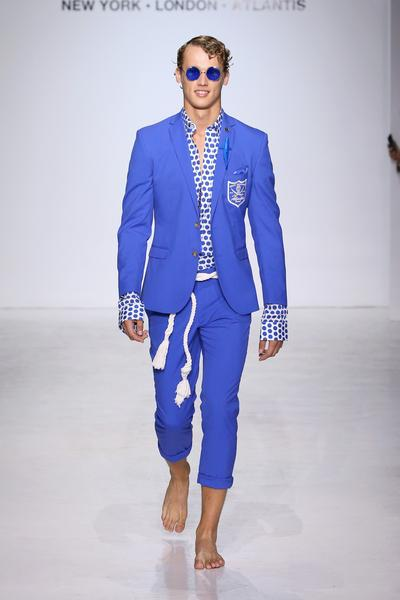 Man in polka dot shirt