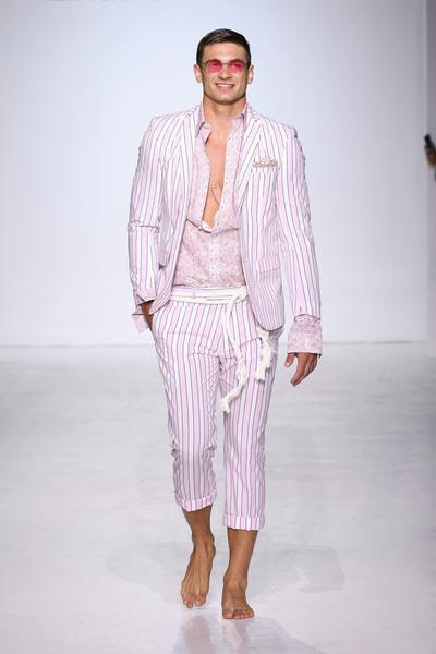 Man in pink striped suit