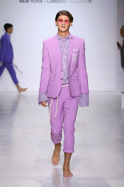 Man in three piece pink suit