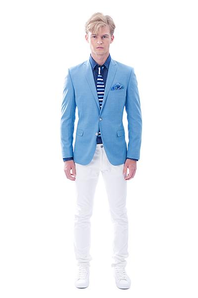 Man in light blue jacket