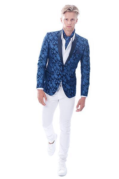 Man in blue tuxedo
