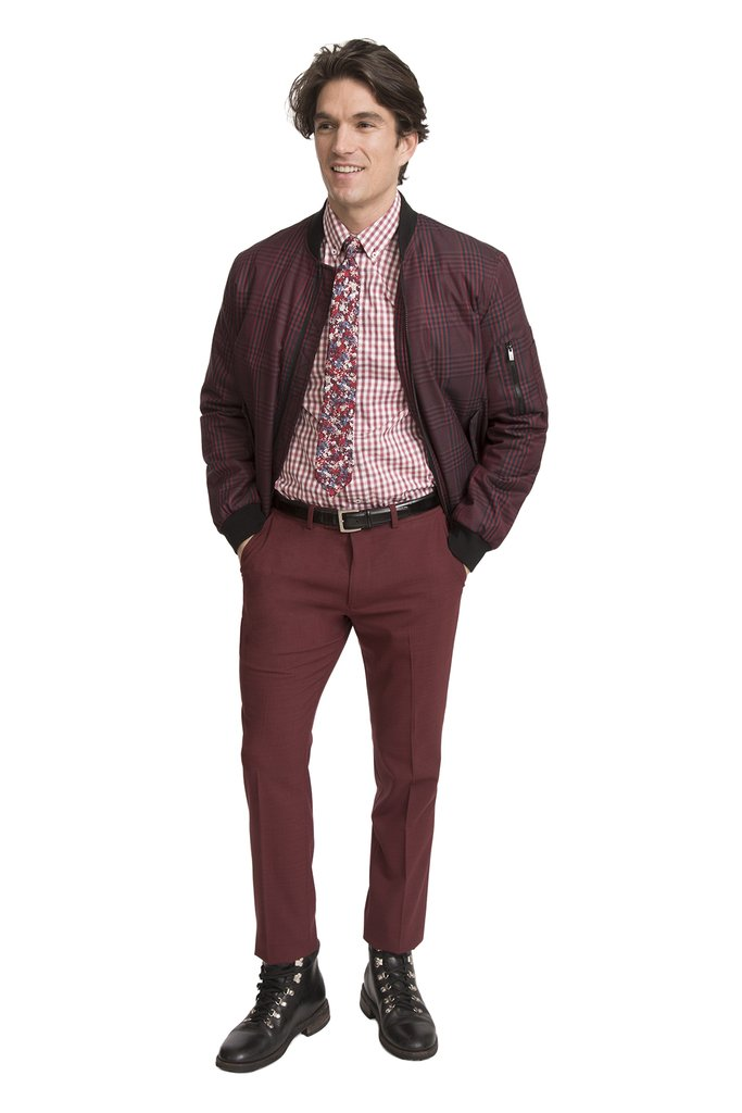 Man in burgundy coat