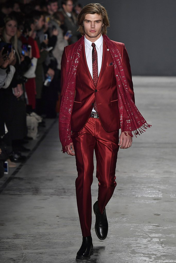 Man in a full red suit