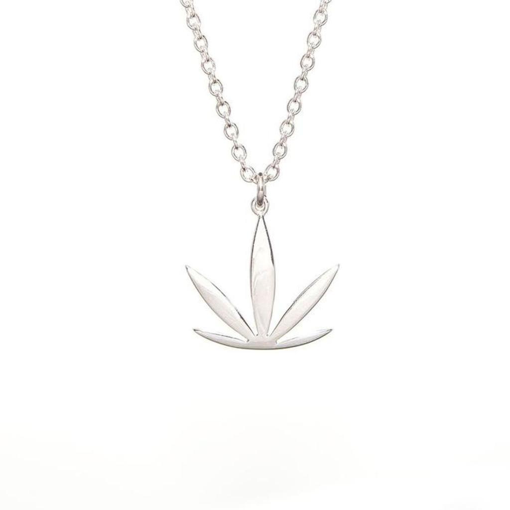 Sterling Silver Modern Leaf Sativa Pendant