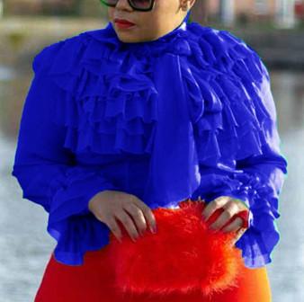 QueenLine Plain Standard Long Sleeve Blouse Green Ruffles Sleeve Summer Elegant Women Tops Blouse 2019 Shirts Female
