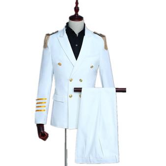 QueenLine Slim Fit Men Captain Uniform 2 Pieces Suit Set Wedding Party Gala Stage Show Aircraft Commander Fashion Navy White Suit Blazer