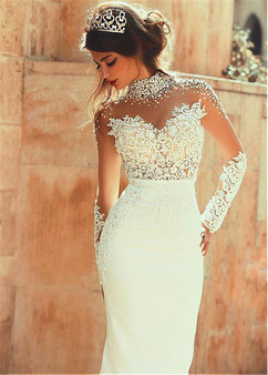 QueenLine 2020 Exquisite Sheer Back Sheath High-neck With Pearls Long Sleeves See Through Floor Length Wedding Dresses Sexy Backless
