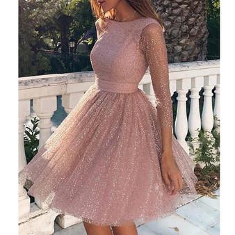 QueenLine 2020 Women Sexy O Neck Long Sleeve Backless Glitter Dresses Female Elegant Pleated Dress  FT19668