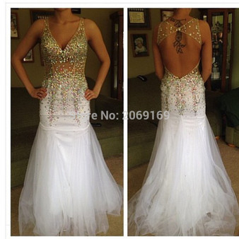 QueenLine New Arrival Free Shipping Sexy V-Neck Sleeveless Beaded Crystal Rhinestone Prom Dresses Mermaid Long White And Gold Evening Gown